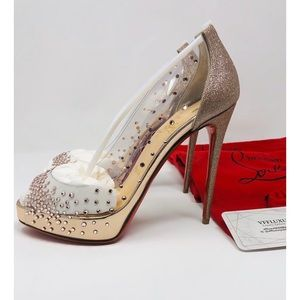 Christian Louboutin Very Strass PVC/GL 120mm heels